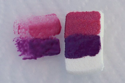 Dab the sponge on a piece of plastic to even out the colour