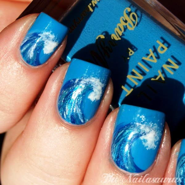 Template nail art - Beach Waves shape